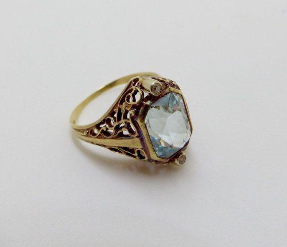 Vintage Art Deco Art Deco 14K topaze bleue diamant bague or