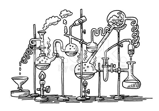 Hand-drawn vector drawing of a Chemistry Experiment in a