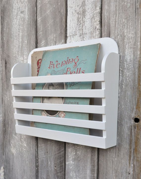 Rustic Hanging Wooden Magazine File Holder Solid White Vintage Design Storage Organizer Book Rack Menu Wall Mounted On Etsy 45 00