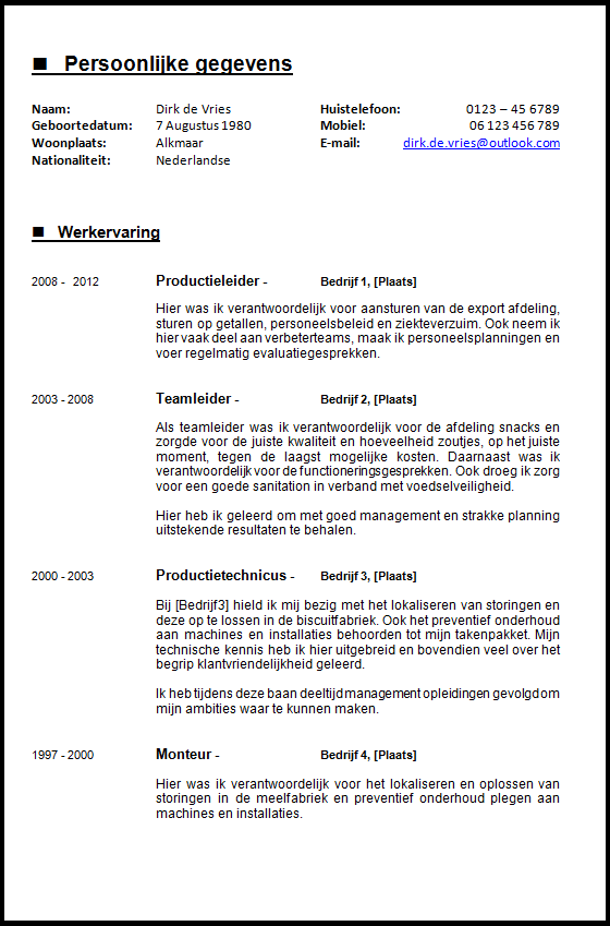 Pagina 1/2: Voorbeeld CV voor de ervaren werknemer. De focus is