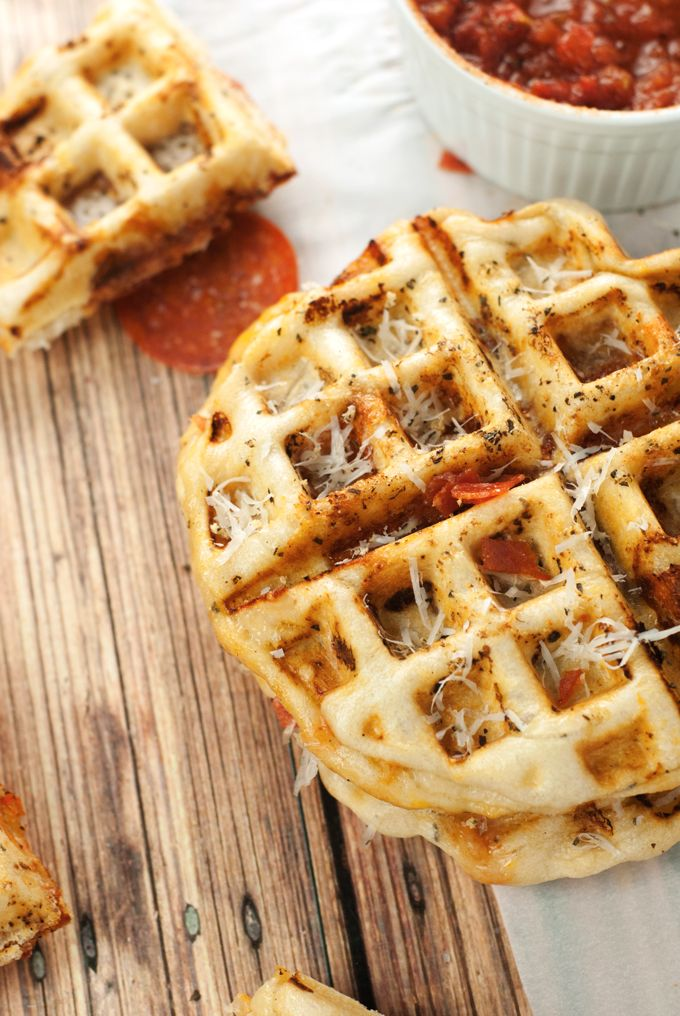 Pepperoni Pizza Waffles A Simple Pantry Recipe Waffle Iron Recipes Waffle Recipes Waffle Pizza