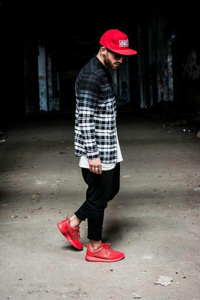 nike roshe black and grey mens plaid shirt