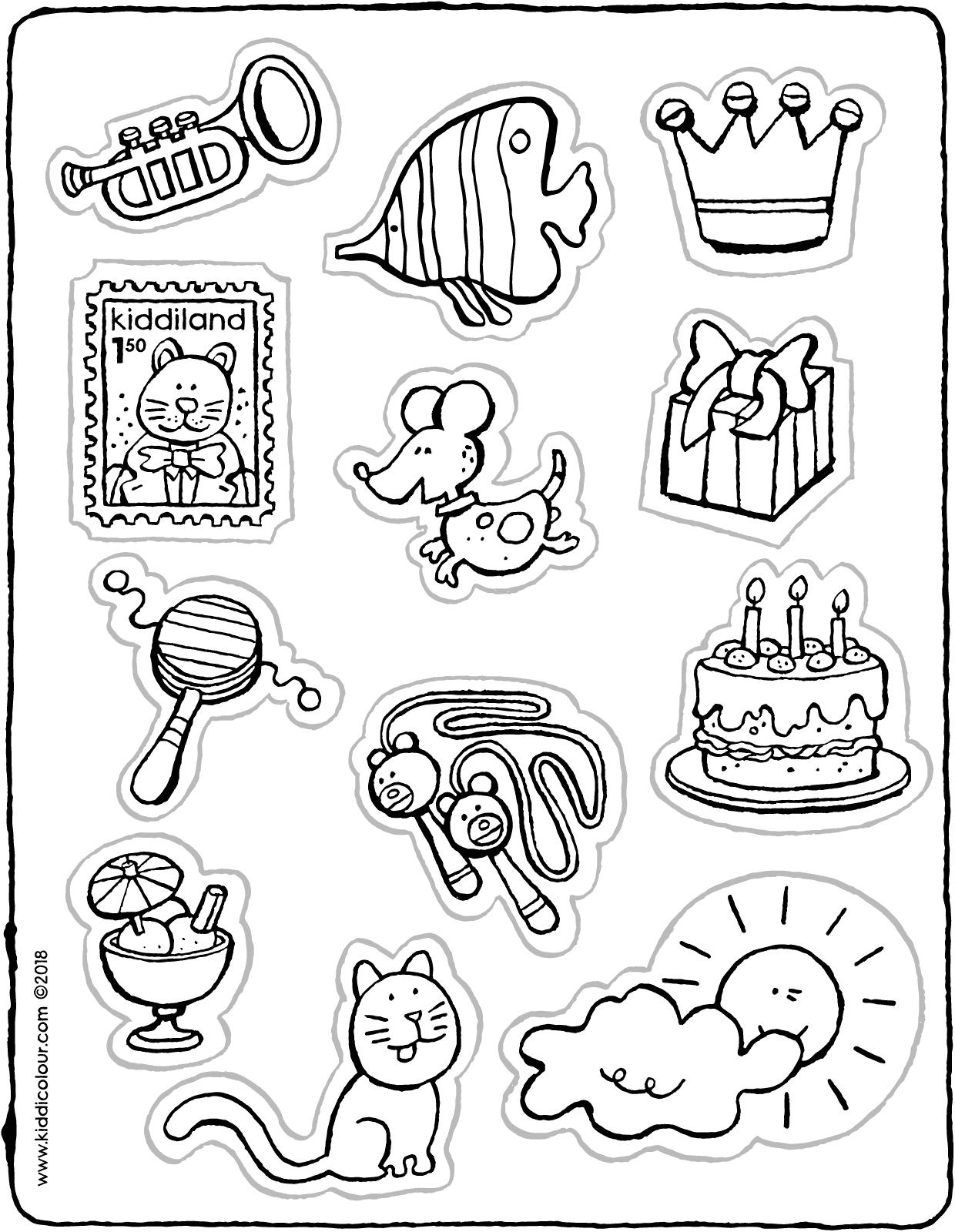 Sticker Ausmalbilder Malvorlagen Zeichnungen 7V  Stickerpapier