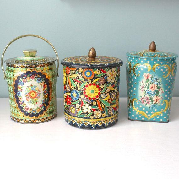 Decorative Tins, Floral, Metal, Embossed, Vintage Tin Collection
