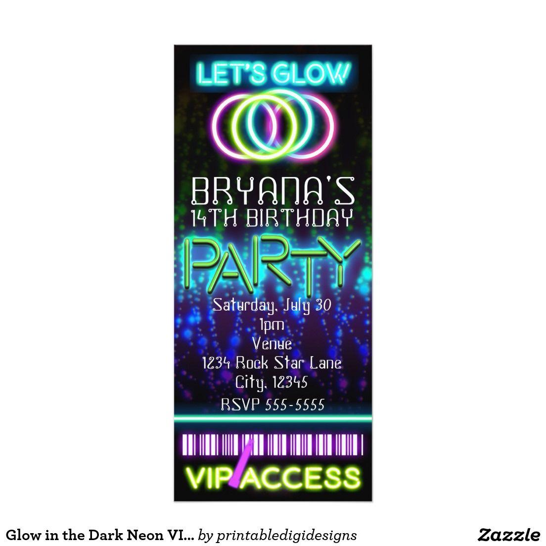 Glow in the Dark Neon VIP Birthday Party Ticket Card | Neon Glow in ...