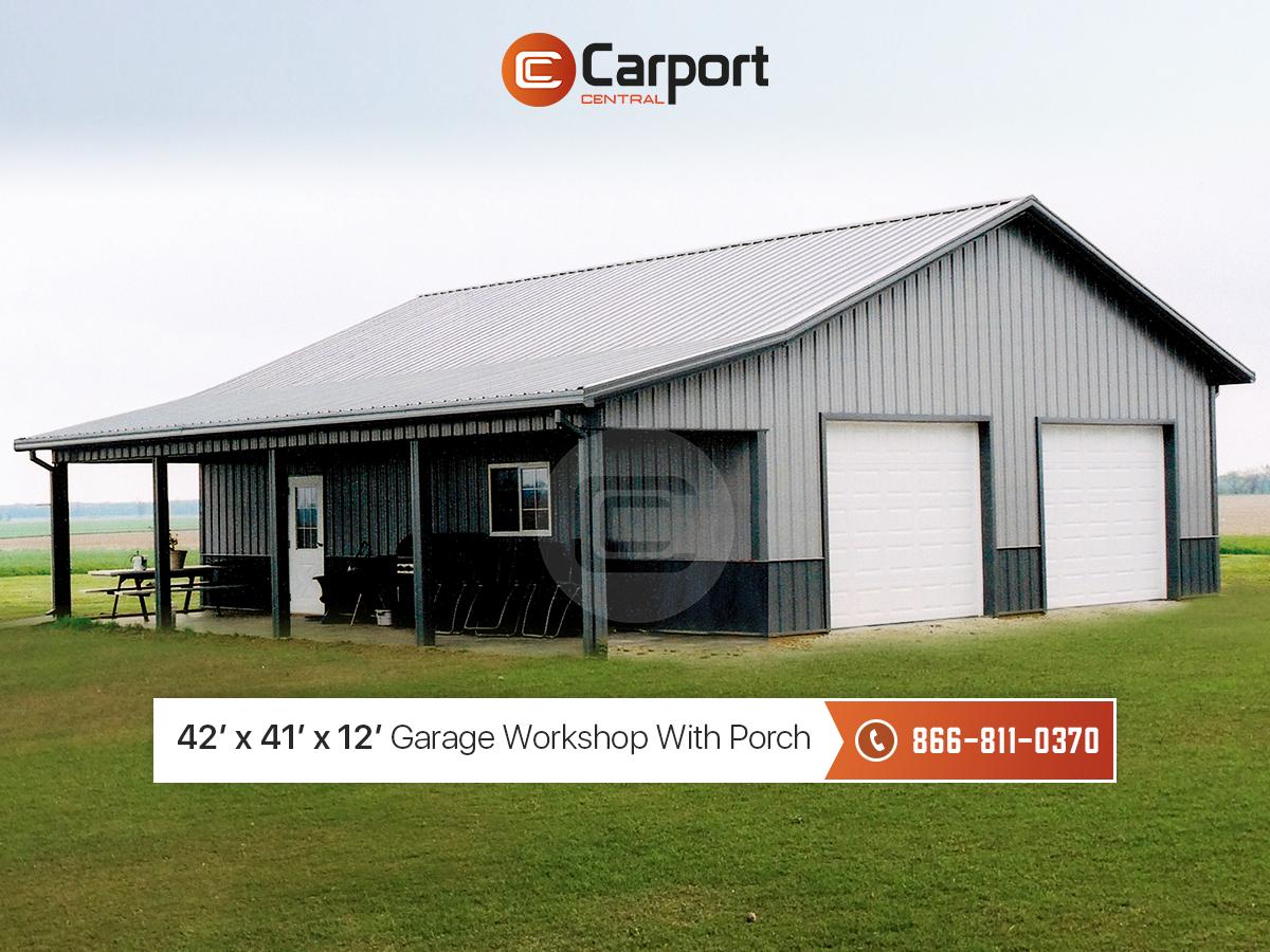 42x41 Garage Workshop With Porch 42 Wide Workshop Garage Workshop Metal Shop Building Metal Garage Buildings