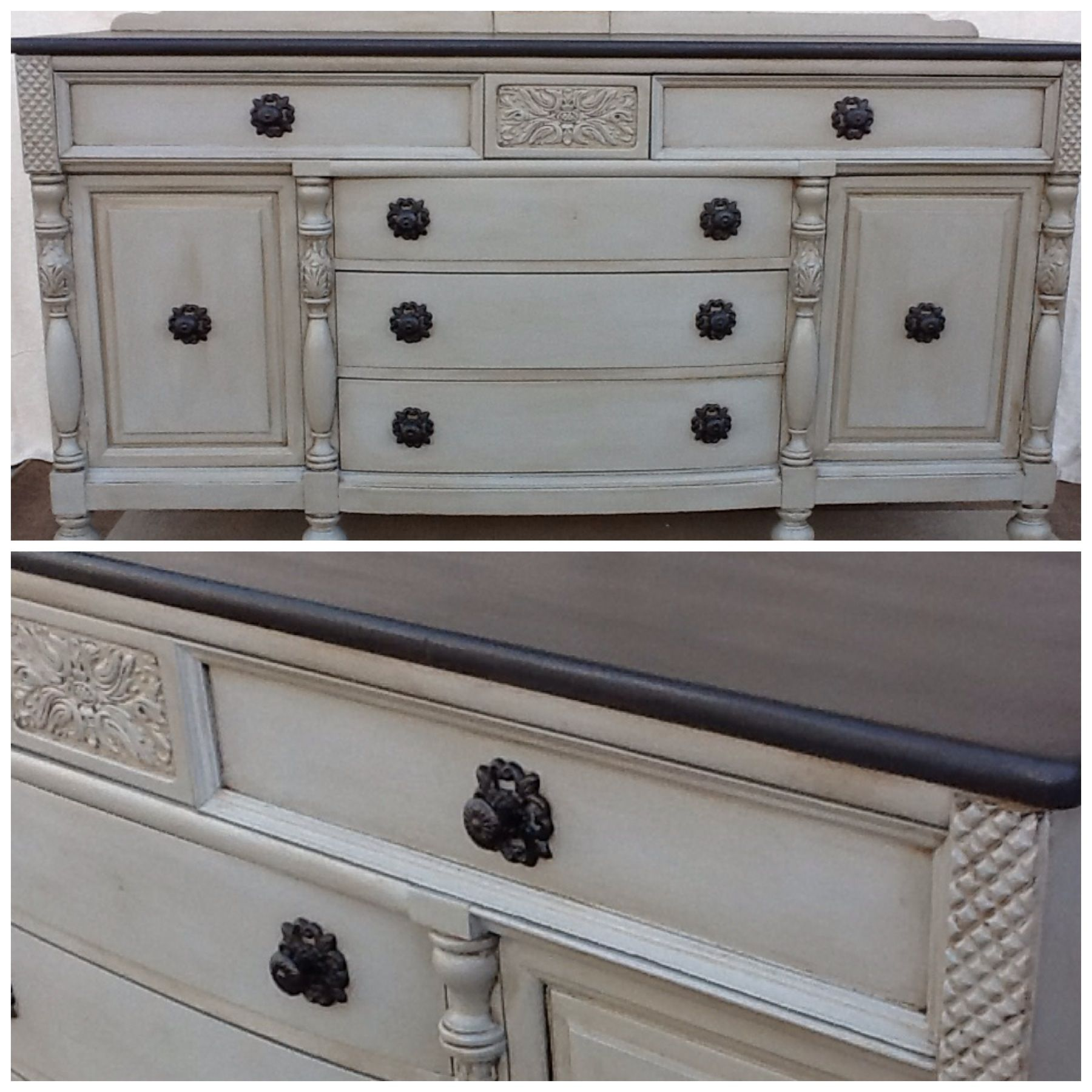 Annie Sloan Chalk Paint~French Linen With Clear And Dark Wax With A  Graphite Painted