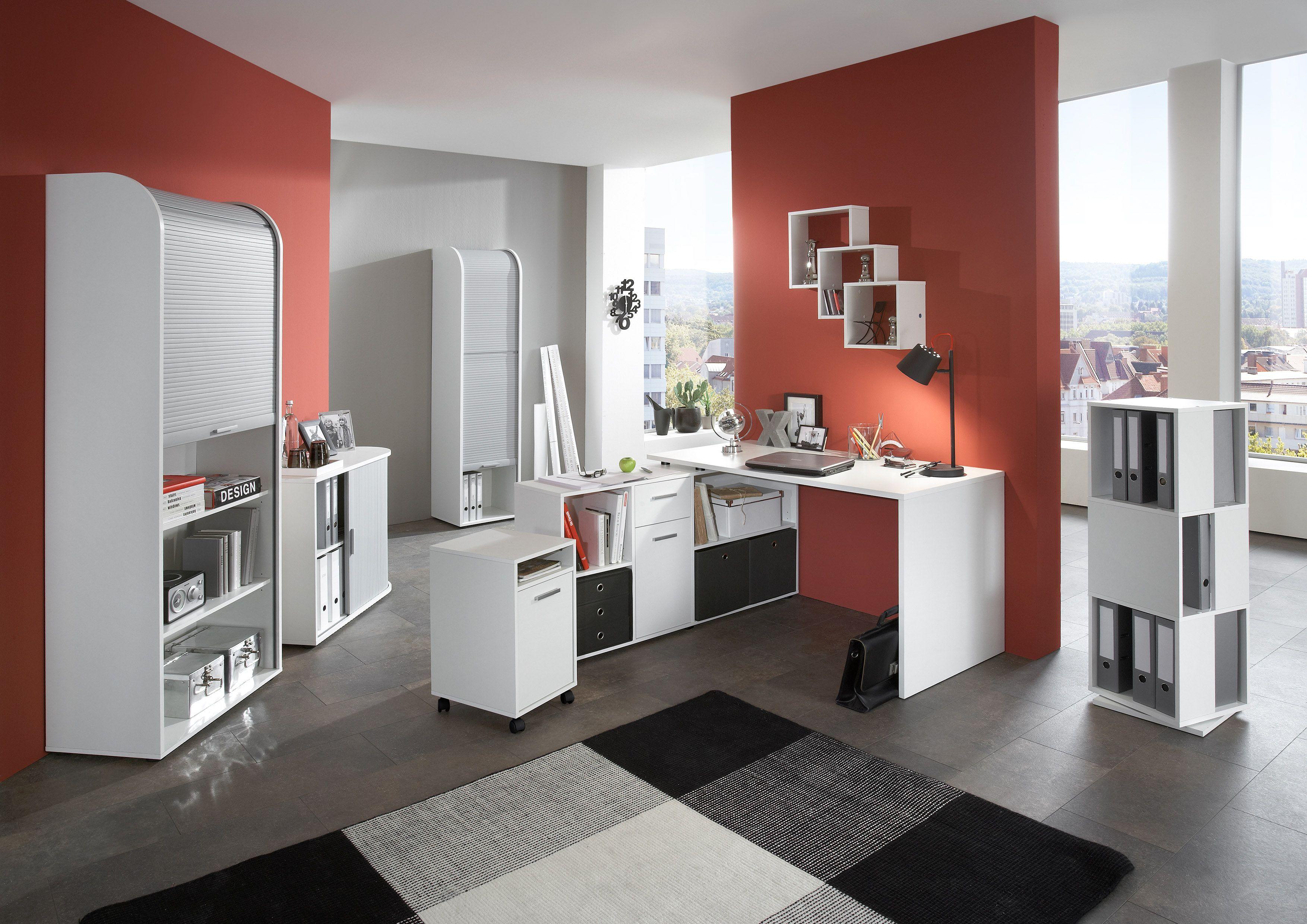 Moderne büromöbel weiss  Büromöbel Set Weiss Mit Schreibtischkombination Und ...