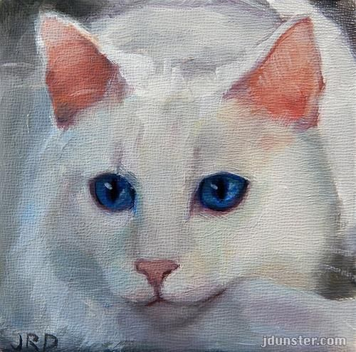 """Daily Paintworks """"Pink Nose White Kitty"""" Original"""