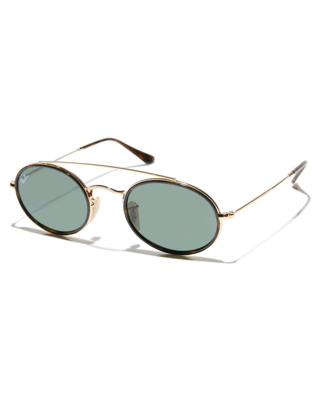 18363751b Ray-Ban Oval Double Bridge Sunglasses Gold Green Mens sunglasses Size
