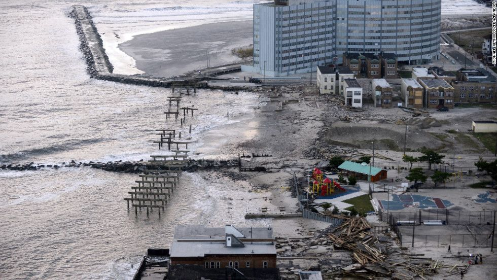 Aftermath Aerial View Atlantic City Hurricane Sandy