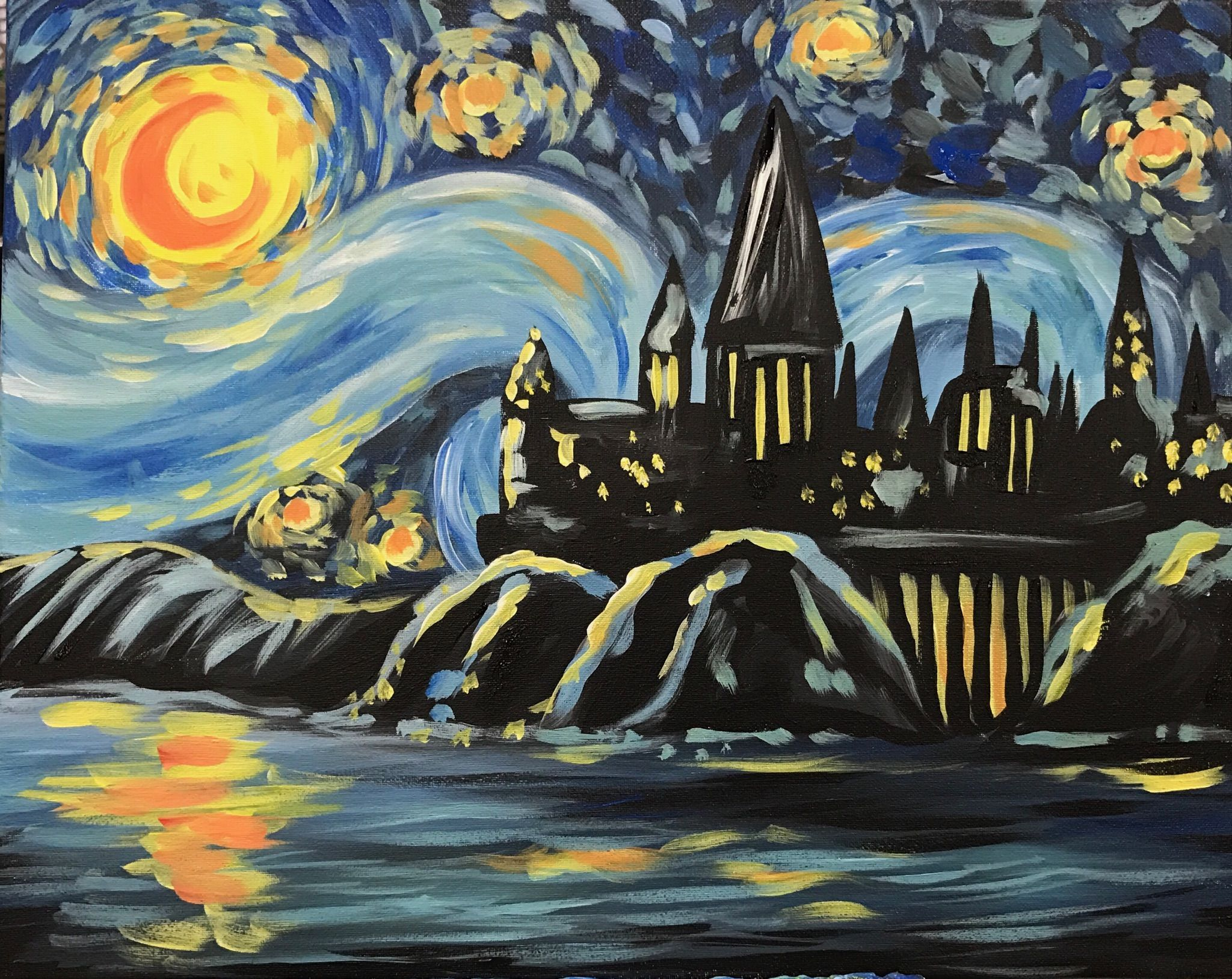 Starry Potter Night Jpg 2 048 1 628 Pixels Night Painting Art Canvas Painting