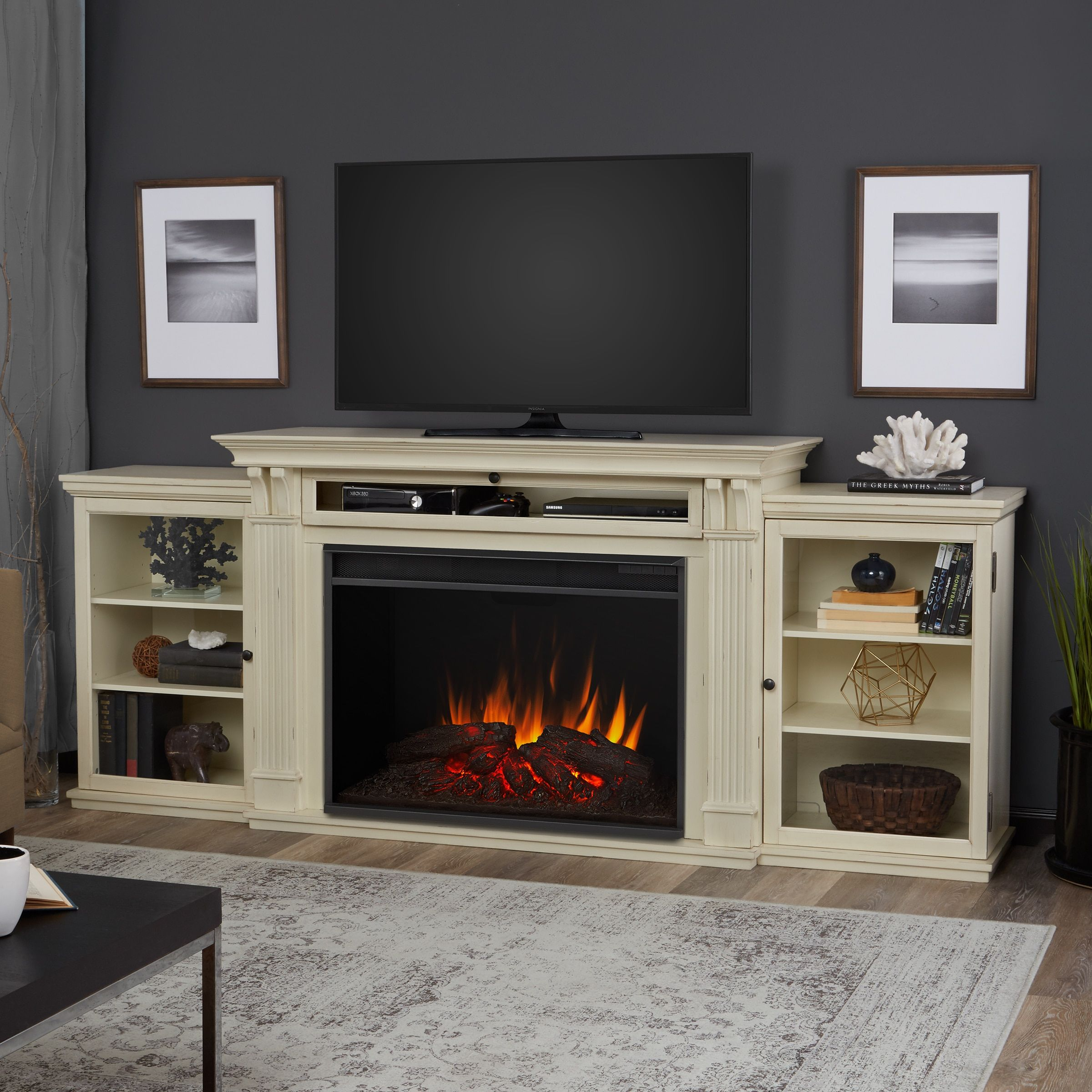 Tracey Electric Grand Fireplace Distressed White by Real