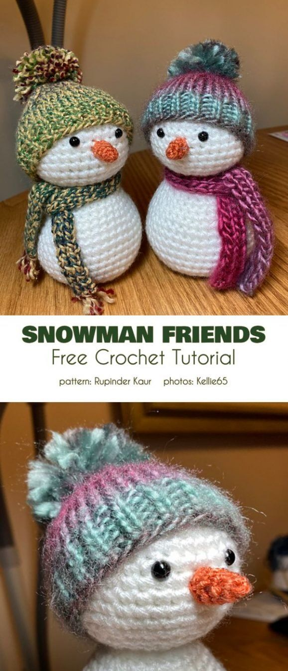 Tiny Snowman Free Crochet Patterns #christmascrochetpatterns