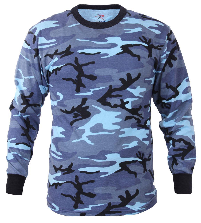 Long Sleeve Urban Blue Camo T-Shirt