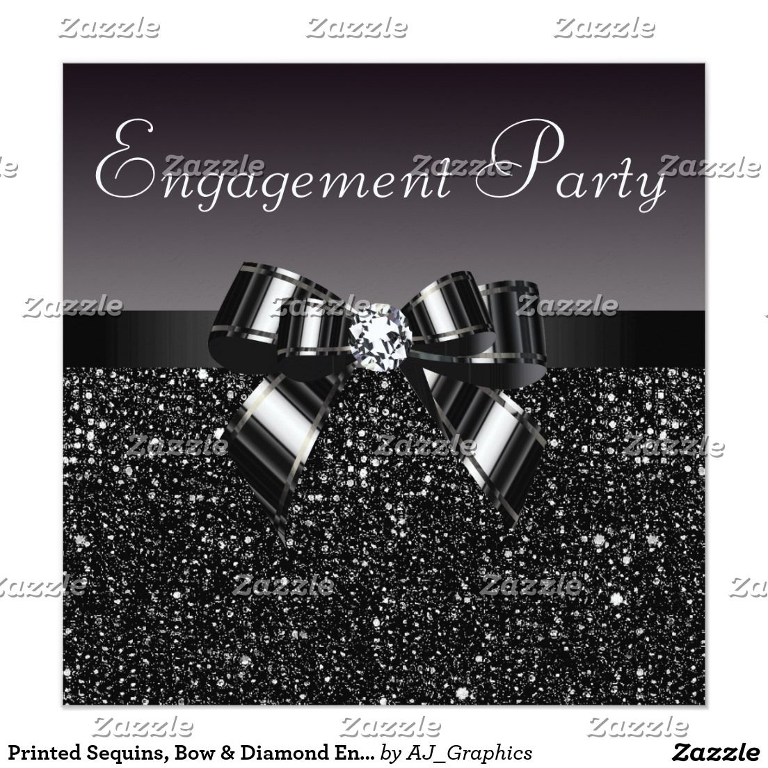 Printed Sequins, Bow & Diamond Engagement Party Card | Wedding ...
