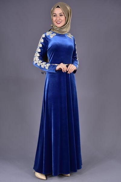 Modamerve Gupurlu Kadife Elbise Mavi Yag 13017 1 Elbise Moda Stilleri The Dress