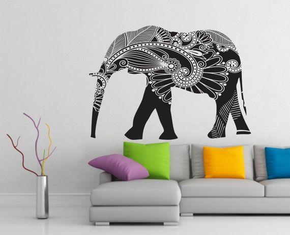 Elephant Wall Decal Stickers Elephant Yoga Wall Decals Indie Wall Art Bedroom Dorm Nursery Boho Bedding Home Decor