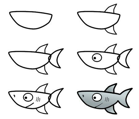How to draw a shark | To Make | Pinterest | Dibujar, Dibujo y ...