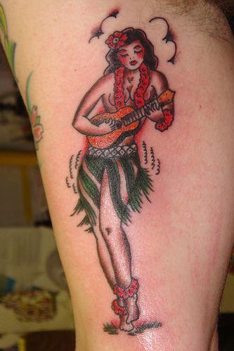 79bbf4bb1ce4a Traditional tattoo. Hawaiian pin up. Hula girl. | Hawaiian tattoos ...