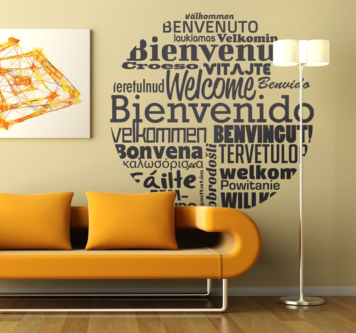 Words To Decorate Your Wall With Wall Stickers A Circular Design Filled With Words Meaning