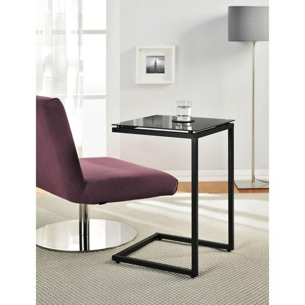 Modern Black Glass Top Side Table C Shaped Have Meals Work On