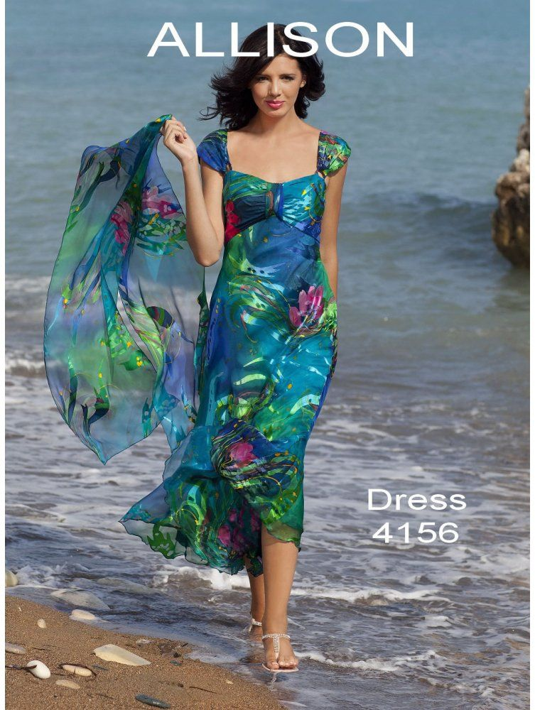 Allison Designs 4156 Silk Soft And Floaty Dress Multicolour With Matching Scarf Dresses For Beach Weddingdress