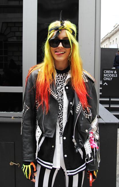 Chloe Nørgaard's neon dip-dye at #LFW #hair #dipdye #streetstyle #collar #style #styleblogger #fashion #SS13 #ASOS #clothes #shirt
