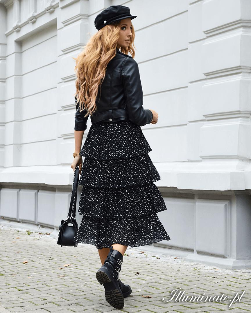 Ivette Midi Czarna Jesienna Spodnica Fall Skirts Skirts Lace Skirt