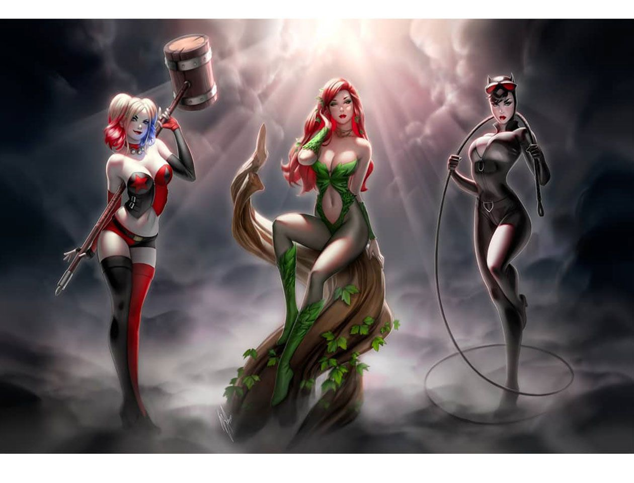 Batman Animated Limited Edition Convention Poster Art Print with the Girls