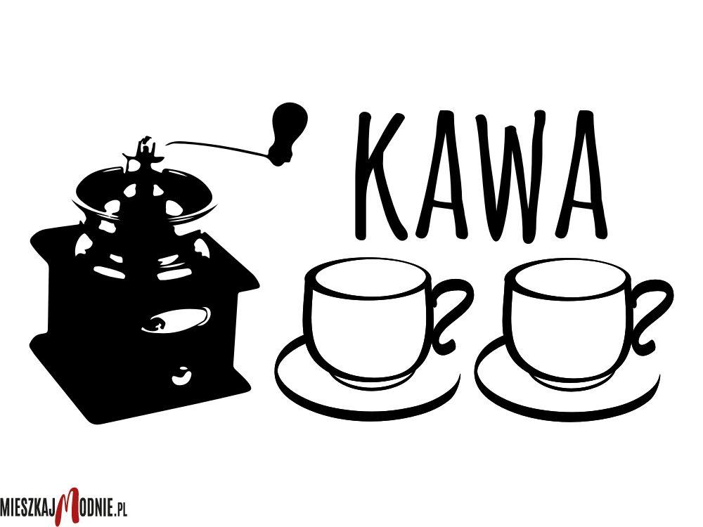 Kawa Młynek Filiżanki Coffee Naklejka ścienna Do Kuchni