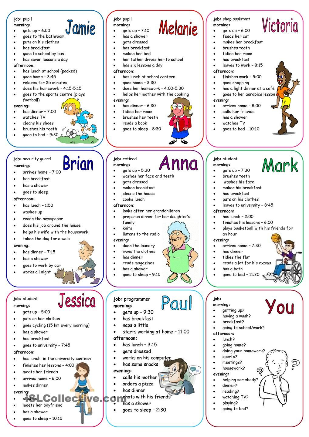 Daily routines speaking cards learn english pinterest for 51090 text