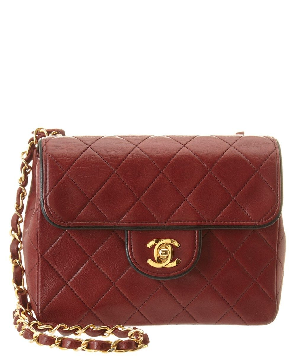 de61e989f3f579 CHANEL Chanel Burgundy &Amp; Black Quilted Lambskin Piped Mini Single Flap  Bag'. #chanel #bags #shoulder bags #leather #lining #