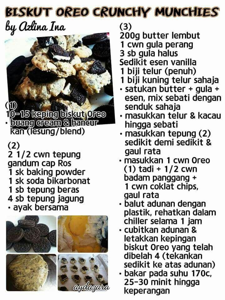 Biskut Oreo Crunchy Munchies | Biscuit recipe, Cookie recipes, Quiche recipes