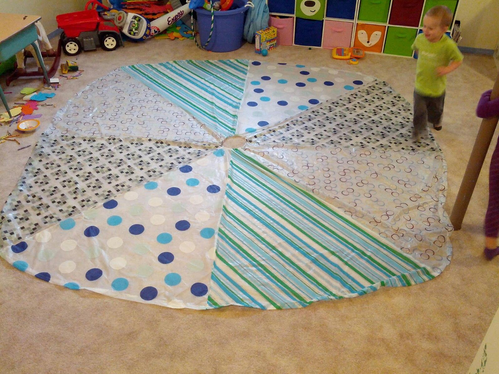 Cool shower curtains for kids - Homemade Play Parachute Made From Dollar Store Shower Curtains