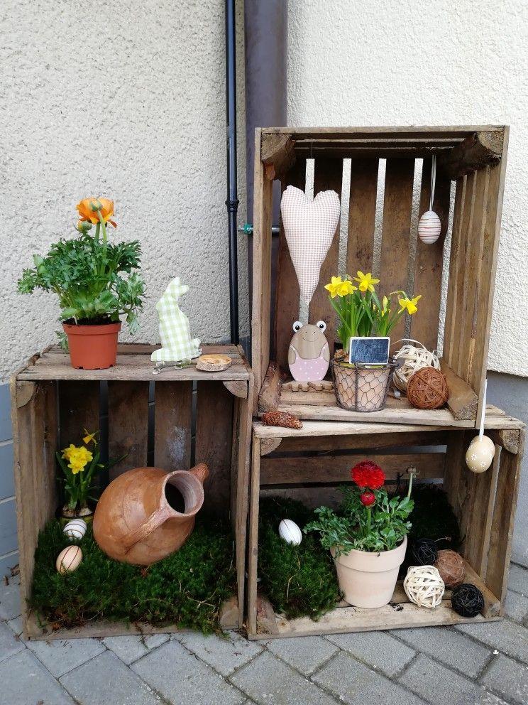 Fruhling Deko Weinkisten Vintage Blumendeko Ostern Moos Fruhlingsdeko Garten Fruhling Deko Dekoration Fruhlings Dekoration