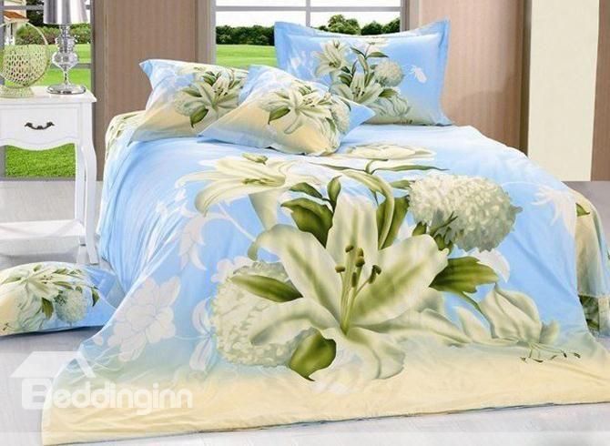 Blooming White Daffodil and Wash Printed 4 Piece Cotton Bedding Sets (10489445)