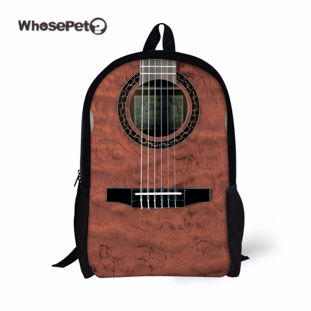 8f0cd38f0c WHOSEPET Guitar Print Creative Backpack for Boys Men Stylish ...