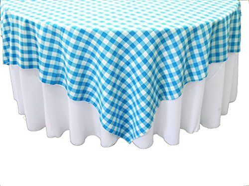 LA Linen Polyester Gingham Checkered Square Tablecloth Color: Turquoise,  Size: W X L