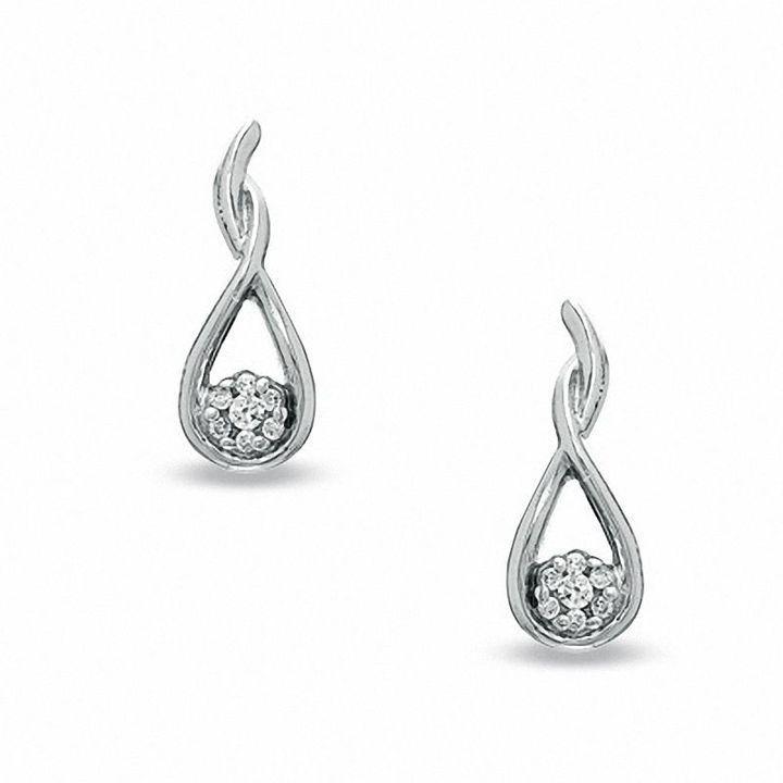 Zales Diamond Accent Cluster Teardrop Earrings in 10K White Gold ChS4r