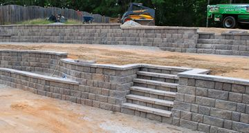 Terraced, Retaining Wall Steps, Built In Bench Planter Box.