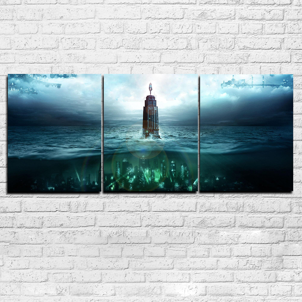 Bioshock lighthouse 3 piece canvas set art in 2019 mural wall