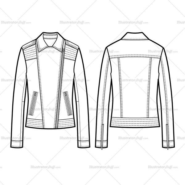 2 Types Of Collar Moto Jacket With Large Trapunto Stitching Flat ...