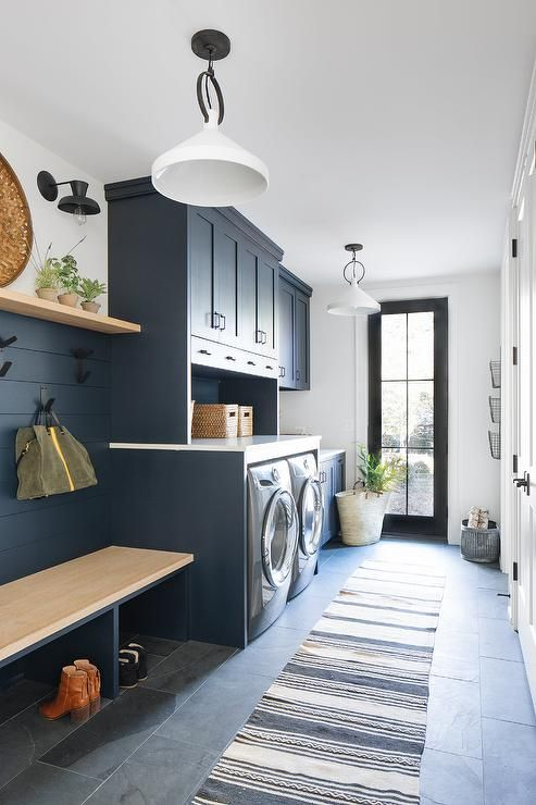 this beautifully designed dark blue laundry room and on paint for laundry room floor ideas images id=12200