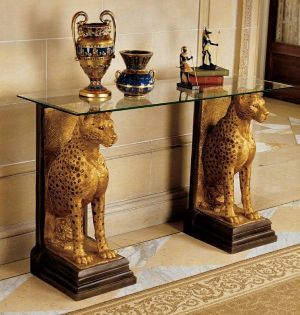 Interior design ideas Egyptian style accents gold coffee table