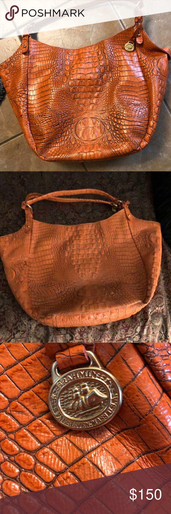a67bbbd293c Brahmin Tote Melbourne collection by Brahmin Crocodile-embossed leather  Orange Smoke Free Home Good Condition Brahmin Bags Totes