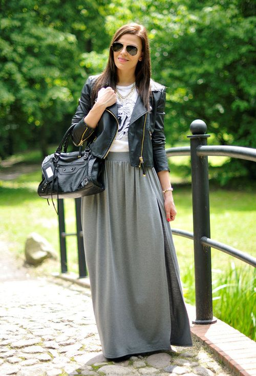 Gray maxi skirt – Modern skirts blog for you