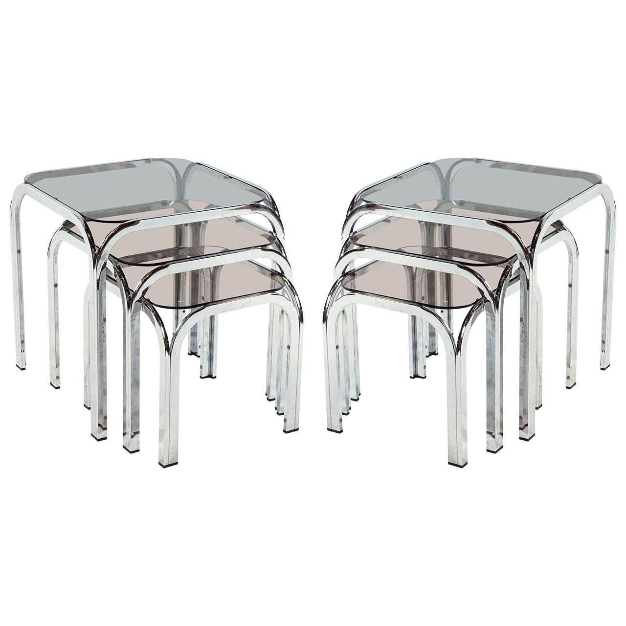 Pair Of Chrome And Smoked Gl Nesting Tables My 1stdibs