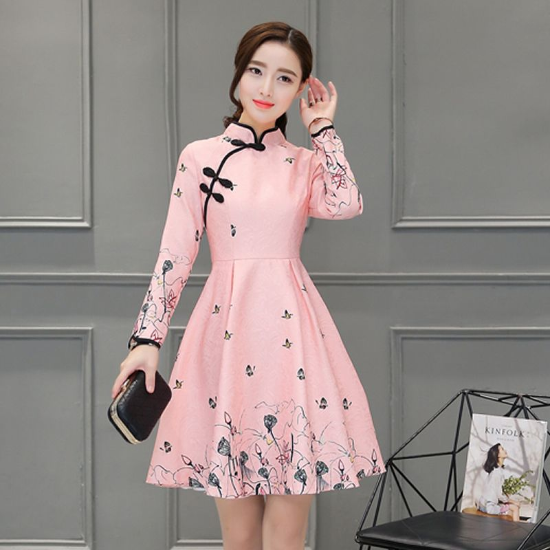 Pink Cheongsam Dress Women Retro Print Floral Modern Qipao Chinese ...