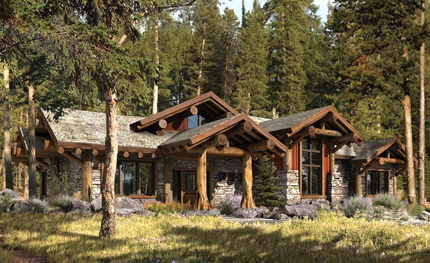 Diseno de casa rustica con columnas de madera for Exteriores de casas rusticas